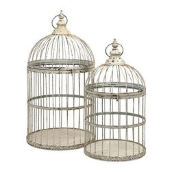 Vellita Bird Cages - Set of 2 - With antiqued white finish, our Vellita Bird Cages are expertly crafted from iron and exude Old World charm. Whether used as a home accent, or for your feathered friend, these cages aren't just for the birds.