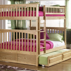 Columbia Bunk Full bed full/full in Natural Maple by Atlantic Furniture - The Columbia Bunk Bed is the perfect mission-style bunk bed for your children's bedroom. Available in twin-over-twin, twin-over-full, or twin-over-futon designs with railings on the top bunk, the sturdy Columbia Bunk Bed is constructed of solid hardwood. Add optional under-bed storage drawers or an optional trundle unit (neither option works with twin-over-futon style) under the bed to provide even more convenient space. The bunk bed comes with two modesty panels, which can be attached to both ends of the bunk bed to give the Columbia Bunk Bed a more grounded look. Available in Natural Maple, Antique Walnut, and White finishes, the Columbia Bunk Bed is sure to become your child's favorite sleepy-time fort.