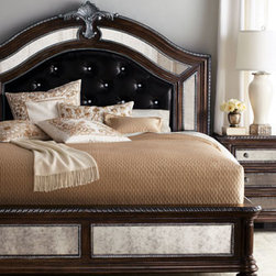 Horchow - Ava King Bed - Birch furnishings with silvery-tipped licorice finish and antiqued-mirror detail bring never-ending grandeur to the bedroom. Beds have replaceable mirrored insets and leather-covered headboards with faux-crystal button tufting. Nightstand and dresse...