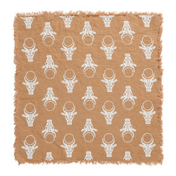 Cricket Radio - Alexandria Hathor Napkin, Set of 2, Camel/White - Does your table need a little divine inspiration? Try this set of two napkins depicting Hathor, an Egyptian cow and sun deity hand-printed on pre-shrunk Italian linen. They come in your choice of colors and feature fringed borders for casual, handmade elegance.