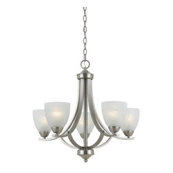 """Triarch International - Triarch International 33293 Satin Nickel Value Series 290 5 Light - Value Series 290 5 Light ChandelierThe white swirl alabaster glass shades on this chandelier soften the modern edge of the satin nickel hardware.Features:White Swirl Alabaster GlassUL ApprovedSpecifications:Requires (5) x 100 Watt Medium Bulb (Not Included)Length: 24""""Height: 22""""Width: 24"""""""