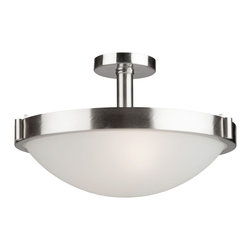 "Artcraft Lighting - Artcraft Lighting Boise Transitional Semi Flush Mount Ceiling Light X-NB7172CA - 17"" flush mount from Bois Collection with  brushed nickel ring"
