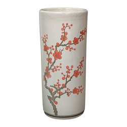 "Oriental Furniture - 18"" Cherry Blossom Umbrella Stand - This imported porcelain umbrella stand is painted with a traditional cherry blossom design against a white background. It is finished with a medium-gloss crackle glaze, and is sure to add a bright and colorful accent to your home decor."