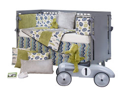 Glenna Jean - Uptown Traffic Baby Crib Bedding Set 4-Piece Set - Heads up commuters, Metro News is reporting a parade of retro motorbikes, pick-up trucks, station wagons, roadsters and beetle bugs in Uptown. In the Uptown Traffic Baby Crib Bedding Set by Sweet Potato, a witty print in vintage avocado, warm cream, light gray and royal blue brings industrial chic to the nursery. 100% cotton prints also include fun 'wheelies' and contemporary zig zag patterns. Velvets in avocado and light gray add softness to this happy and fun group.