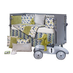 Glenna Jean - Uptown Traffic Baby Crib Bedding Set - Heads up commuters, Metro News is reporting a parade of retro  motorbikes, pick-up trucks, station wagons, roadsters and beetle bugs in Uptown.  In the Uptown Traffic Baby Crib Bedding Set by Sweet Potato, a witty print in vintage avocado, warm cream, light gray and  royal blue brings industrial chic to the nursery.  100% cotton prints  also include fun 'wheelies' and contemporary zig zag patterns.   Velvets  in avocado and light gray add softness to this happy and fun group.