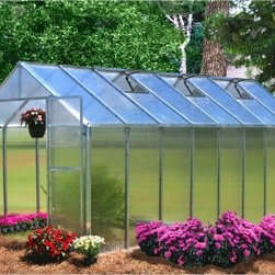 "Riverstone Industries Monticello 8 x 16 ft. Greenhouse - For gardeners who have always thought a greenhouse meant time money and effort wasted that could have been put straight into planting the Riverstone Industries Monticello 8 x 16 ft. Greenhouse offers a reasonable solution. The folks at Riverstone have kept the assembly of this greenhouse simple so even an inexperienced builder doesn't have to waste a whole weekend putting it together. In less than a day you'll be able to jump right into your planting and production. And the small time and effort putting this structure together means saving tons of time and money later if your early plants are taken by frost. That won't happen with this greenhouse because its commercial-grade materials will help you safely extend your sustainable growing season or even grow year round if you choose. The Monticello Greenhouse by Riverstone Industries uses the highest-quality extruded aluminum available - over 70 lbs. more than an average imported greenhouse of this size. Furthermore it uses high-impact UV-stable 8mm twin wall polycarbonate for the walls and roof whereas most other greenhouses on the market use less expensive materials that they stretch as thin as .2mm. Riverstone's extra measures of strength pay off by securing your greenhouse and all its precious contents from snow loads up to 24 pounds per square foot and from gusts of wind up to 113 miles per hour making this far stronger than the average greenhouse. In addition to its ability to hold up under strenuous natural conditions these high-quality materials also make the greenhouse's growing potential more efficient stretching the natural season longer and cutting down on electric bills for those looking to grow year round. Not only does Riverstone Industries use the highest grade materials on these greenhouses they also construct them with features designed to help you make the most of your horticultural efforts. The automatic roof vents will enable you to keep a good temperature and airflow while the dual integrated rain water gutter system helps you make the most of the elements that nature already provides. And the integrated base allows for direct anchoring to ground. Additional features: High-impact UV stable 8 mm twin polycarbonate walls and roof Heavy-duty extruded aluminum frame Easy fast assembly even for inexperienced builders Assembly time of approximately 5.5 hours Peak height: 90 inches Sidewall height: 58 inches Door dimensions: 48W x 68H in. Three 2 x 2 ft. roof vents with automatic openers """"Easy roll"""" sliding entry doors with locking ability Expandable in 4-ft. increments as needed (extensions sold separately) Efficient - average annual cost for year round operation is $150-$200 Snow load capacity: 24lbs./sq. ft. Wind load capacity: 52m/sec. (113 mph gusts) Proudly made in the United States About Riverstone IndustriesRiverstone Industries prides itself on producing high-quality environmentally and economically conscientious products for the masses. They believe that their green product lines will enable everyone to help forge a brighter future for themselves and their world. By creating merchandise that is easy to assemble backed by confident warranties and supported by top-notch customer service they have built and maintained outstanding quality that has resulted in customer satisfaction. Over the years Riverstone Industries has also made a conscious effort to move its design and manufacturing programs to the United States helping secure domestic jobs and a stronger economic environment."