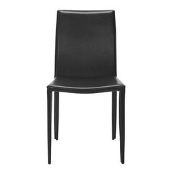 Safavieh - Karna Dining Chair - Black - The Donald Gas Lift Barstool offers clean, contemporary lines and sleek comfort for your kitchen counter or home bar. From its round chrome-covered iron base, sleek pedestal and footrest, to its contoured, white bonded leather seat, Henry will provide functional fashion, rising in overall height from 26.5to 35.5.