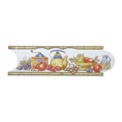 Renovators Supply - Wall Tiles White Ceramic Wall Tile & Borders | 13354 - This traditional motif features fruit on a white background with a glossy glazed finish. The slightly raised relief offers some depth to the tile. Semi-circle ends fit into each other giving your tile a unique pattern. Measures 3 in h x 10 in. l.