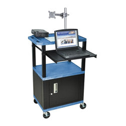 H. Wilson - Tuffy Front Pullout Shelf Presentation Cart w Black Legs in Blue - Includes lock with a set of two keys and three outlet 15 ft. cord. Monitor mount features 270 degree swivel, 180 degree tilt and adjustable height. Recessed chrome handle. 20 gauge steel cabinet. Recessed chrome handle. Locking steel cabinet panels fit firmly into the specially molded leg slots. Cable management access in back cabinet panel. Three shelves. 0.25 in. safety retaining lip and a raised texture surface to enhance product placement and ensure minimal sliding. 4 in. silent roll. Full swivel ball. 1.5 in. square black colored legs that will not chip, warp, crack, rust or peel. 4 in. heavy duty casters, two with locking brakes. High density polyethylene structural foam injection molded plastic shelves. Cord with cord management wrap and three cable management clips. Electrical attachment recessed to insure easy passage through doorways. Shelves and legs are made from recycled material. UL listed electrical assembly. Made from polyethylene and plastic. Made in USA. Minimal assembly required. Pullout shelf: 19.63 in. L x 15.63 in. W. Shelves: 24 in. L x 18 in. W x 1.5 in. H. Overall: 24 in. L x 18 in. W x 42.5 in. H. Warranty