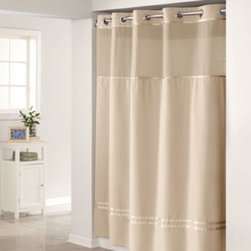 """Hookless - Hookless Escape 71-Inch x 74-Inch Fabric Shower Curtain and Liner Set in Taupe - This innovative shower curtain and liner offer no hassles thanks to their """"split ring"""" hookless design that lets you hang them in less than 10 seconds."""