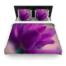 """Kess InHouse - Ann Barnes """"Standing Ovation"""" Purple Flower Cotton Duvet Cover (Queen, 88"""" x 88"""" - Rest in comfort among this artistically inclined cotton blend duvet cover. This duvet cover is as light as a feather! You will be sure to be the envy of all of your guests with this aesthetically pleasing duvet. We highly recommend washing this as many times as you like as this material will not fade or lose comfort. Cotton blended, this duvet cover is not only beautiful and artistic but can be used year round with a duvet insert! Add our cotton shams to make your bed complete and looking stylish and artistic!"""