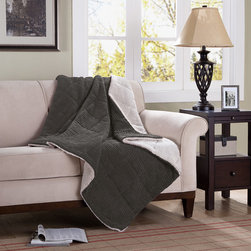 Premier Comfort - Premier Comfort Jackson Down Alternative Throw - If you're looking for a cozy throw blanket to cuddle up in on the couch, this Jackson blanket will be perfect for you. Its thick material is made out of a solid colored corduroy on one side and a super soft ivory berber on the other. Whether its for a summer snooze or a cold winter's nap, this blanket will make you comfy throughout the seasons. Availible in brown, ivory, blue, grey and red. Face: 88% polyester, 12% nylon (corduroy) Reverse: 100% polyester (berber), knife edge, box quilt Filling: 6D fiber fill
