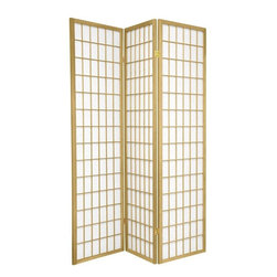 Oriental Furniture - 6 ft. Tall Window Pane - Special Edition, Gold, 3 Panel - The popular Window Pane Shoji Screen is now available in a special edition run of beautiful new colors! The fiber-reinforced Shoji rice paper offers privacy while allowing diffused light to filter through, and the Scandinavian spruce frame is both durable and lightweight. This special edition won't last forever, so pick your favorite color today while supplies last!