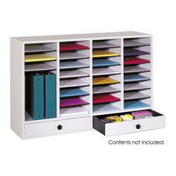 """Safco - Wood Adjustable Literature Organizer, 32 Compartment w. Drawer - Grey - Find your inner organization with these literature organizers. And outfit your office with a space saving solution. Store stationary, forms, supplies and organize projects with ease. Cabinetry is formed from compressed wood with a laminate finish and has a solid fiberboard back for strength and rigidity. Strong hardboard adjustable shelves form letter-sized compartments. Includes two drawers for storage of writing implements and small office supplies. Black plastic molding complements finish while doubling as a convenient labeling area (labels are included). Mix and match with additional organizers with or without drawers to form a custom storage unit to meet individual needs.; Features: Material: Solid Fiberboard (back), Hardboard (shelves), Furniture Grade Particleboard; Color: Grey; Finished Product Weight: 68 lbs.; Assembly Required: Yes; Tools Required: Yes; Limited Lifetime Warranty; Dimensions: 39 1/4""""W x 11 3/4""""D x 25 1/4""""H"""