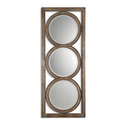 Uttermost - Uttermost 13533 B  Isandro Metal Silver Mirror - Made of hand forged metal, this frame features and open design that allows wall color to show thru and is finished in silver undertones with a black-gray wash and burnished edges. mirrors are beveled. may be hung either horizontal or vertical.