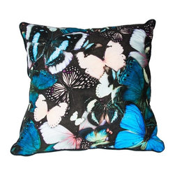 Curio Butterfly Decorative Pillow - Bold and beautiful, this striking curio butterfly pillow from the Graham & Brown pillow collection will brighten up any room. Featuring an array of stunningly detailed butterflies in a striking mix of blues and teals is a stylish way to bring nature into your home. Made from 100% cotton at the beautiful size of 50x50cm and generously filled with polyester hollow fibre this quirky cushion is both plush and cosy. Featuring a complimenting coloured back and colour co-ordinating piping and zip, each pillow in our unique range is finished to perfection.