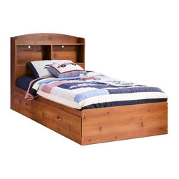 South Shore - Twin Mates Bed in Sunny Pine Finish - Manufactured from eco-friendly, EPP-compliant laminated particle boardcarrying the Forest Stewardship Council (FSC) certification. Includes bed and headboard. Mattress not included. Assembly Required. Weight limit: 250 lbs.. Bed: 77 in. L x 43 in. W x 14 in. H. Headboard: 42 in. L x 8 in. W x 42 in. H