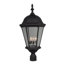 Craftmade - Craftmade Z555 Three Light Up Lighting Large Outdoor Post Light from the Straigh - Three Light Large Outdoor Post Light from the Straight Glass Collection