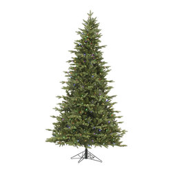 "Vickerman - Fresh Balsam Fir 750Mu LED (7.5' x 54"") - 7.5' x 54"" Fresh Balsam Fir, 1376 tips, UL 750 LED Multi Italian Mini Light, on/off switch step, in Bmv metal base, 30% PE, 70% PVC, Thickness, Utilizes energy-effiecent, durable LED technology."