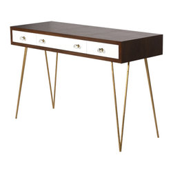 Worlds Away - Brent Console Desk With Gold Hairpin Legs - Worlds Away Brent Console with Gold Hairpin Legs
