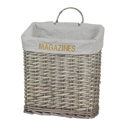 "Quickway Imports - Vintage Magazine Basket - Approximate size: 12 3/8W x 14H x 5 2/8D"" 2 1/2"" the handle."