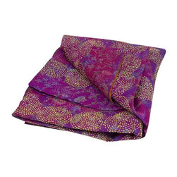 Used Lavender Chakra Silk Kantha Throw - This eye-catching silk Kantha scarf features ornate chakra patterns, giving it an exuberant look with striking details. The vintage silk and hand-done stitching allows each Kantha a unique, one-of-a-kind look.