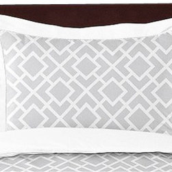Sweet Jojo Designs - Diamond Gray & White Pillow Sham by Sweet Jojo Designs - The Diamond Gray & White Pillow Sham by Sweet Jojo Designs, along with the  bedding accessories.