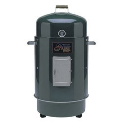 Brinkmann - Charcoal Smoker and Grill Green - Deluxe Dual Level Gourmet charcoal smoker and grill with heat indicator