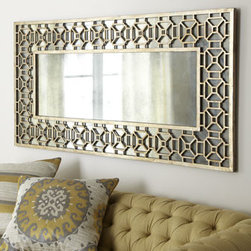 "Horchow - Champagne Overlay Mirror - The perfect length for hanging above a sofa, this mirror boasts a hand-forged metal frame with an antiqued-champagne finish. Handcrafted. 60""W x 1.5""D x 30""T. Imported."