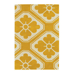 Thomas Paul - Thomas Paul Obi Maize Wool Rug - Intermingling floral and geometric pattern, art deco and graphic styles meet on Thomas Paul's Obi rug. The floor covering's maize yellow and ivory palette adds modern flair. Available in several sizes; 100% New Zealand wool with cotton backing; Hand tufted; Pattern differs according to rug size (see images); Strong, resilient and static resistant for use in high-traffic areas; Some difference in color, size or shape is consistent with the nature of handmade products; Shedding is characteristic of fine wool and part of the natural wear-in process; Spot cleaning by hand or professional cleaning recommended; Rug pad recommended