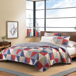 Eddie Bauer - Eddie Bauer Chelan Cotton Reversible 3-piece Quilt Set - The Eddie Bauer Chelan reversible quilt is great to layer into your bedding as a coverlet or to use alone in warmer weather. Featuring a patchwork pattern in a red,blue,and white finish,this set also includes two shams to enhance the look.