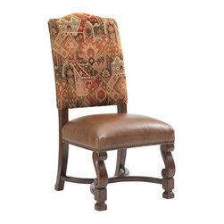 Lexington - Lexington Fieldale Lodge Aspen Side Chair Set of 2 455-880-01 - Features a rich Kilim pattern in combination with saddle-soft leather on the seat, and outlined with antique brass nailhead trim.