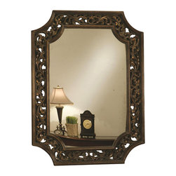 Coaster - Coaster Accent Scroll Wall Mirror in Bronze - Coaster - Mirrors - 901711 - You'll have a gorgeous addition to your home decor with this wall mirror. The piece carries a bronze finished frame and features artful scroll work as well as indented corners, which help provide an unique look. Capture the essence of elegance in your entryway, living area or bedroom with help from this stunning wall mirror.