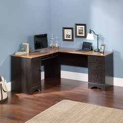 "Sauder - Harbor View Corner Computer Desk - Features: -Corner computer desk.-Perfect easy-living cottage look, an eclectic piece of graceful yet simple detailing is highlighted.-Heat, stain and scratch resistant.-Lower drawer holds letter or European size hanging files.-Storage area behind door holds vertical CPU tower.-Two smaller drawers for storage on metal runners.-Slideout shelf for keyboard and mouse.-Made in USA.-Top surface construction American cherry melamine.-Harbor view collection.-Distressed: Yes.-Collection: Harbor View.-Country of Manufacture: United States.-Desk Type: Computer Desk.-Top Finish: Melamine with American Cherry Accent.-Accent Finish: American Cherry.-Powder Coated Finish: No.-Gloss Finish: No.-UV Finish: No.-Top Material : Engineered wood.-Base Material: Engineered wood.-Hardware Material: Wood.-Edge Detail: Rounded.-Non-Toxic: Yes.-Water Resistant: No.-Stain Resistant: Yes.-Heat Resistant: Yes.-Style: Cottage.-Design: Rectangular.-Eco-Friendly: Yes.-Cable Management: Yes.-Keyboard Tray: Yes.-Height Adjustable: No.-Drawers Included: Yes -Number of Drawers: 3.-File Drawer: Yes.-Drawer Glide Material : Metal runners with safety stops.-Safety Stop : Yes.-Soft-Close Drawer: Yes.-Locking Drawer: No.-Ball Bearing Glides: Yes.-Joinery Type : Hidden cams and dowels.-Drawer Handle Design: Knobs..-Pencil Drawer: No.-Jewelry Tray: No.-Exterior Shelving : No.-Cabinets Included: Yes -Number of Cabinets: 1.-Locking Cabinet: No..-Ergonomic Design: No.-Handedness: both.-Scratch Resistant: Yes.-Chair Included: No.-Legs Included: No.-Hutch Included: No.-Treadmill Included: No.-Cork Back Panel: No.-Modesty Panel : Yes -Modesty Panel Details: Half..-CPU Storage: Yes.-Built In Outlet: No.-Built In Surge Protector: No.-Light Included: No.-Finished Back: Yes.-Tipping Prevention: No.-Modular: Yes -Modular Details: Drawers and doors can be fastened on left or right side..-Lifestage: Teen-adult.-Compatibility: Accepts Hutch #403786.-Commercial Use: No.-Product Care: Wipe with damp cloth.-Swatch Available: Yes.-Recycled Content: Yes -Remanufactured/Refurbished : No..Specifications: -FSC Certified: Yes.-EPP Certified: Yes.-CARB Compliant: Yes.-ISTA 3A Certified: Yes.-Green Guard Certified: No.-ANSI BIFMA Certified: No.-SCS Certified: No.Dimensions: -Overall Height - Top to Bottom: 30.28"".-Overall Width - Side to Side: 93.5"".-Overall Depth - Front to Back: 20.5"".-Desk Return: No.-Credenza: No.-Bridge: No.-Cabinet: -Cabinet Interior Height - Top to Bottom: 23.25"".-Cabinet Interior Width - Side to Side: 14.125"".-Cabinet Interior Depth - Front to Back: 19.5""..-Drawer: Yes.-Shelving: Yes.-Seat: No.-Desktop Height: 30.25"".-Desktop Width - Side to Side: 93.5"".-Desktop Depth - Front to Back: 22"".-Knee Space Height: 25.37"".-Hutch : No.-Legs: No.-Overall Product Weight: 179 lbs.Assembly: -Assembly required.-Assembly Required: Yes.-Tools Needed: Phillips screwdriver and hammer.-Additional Parts Required: No.Warranty: -Manufacturer provides 5 year warranty.-Product Warranty: 5 years."