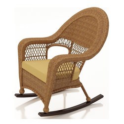 Forever Patio - Catalina Outdoor High Back Rocker, Straw Wicker, Wheat Cushions - The Forever Patio Catalina High Back Rocker in Straw Wicker with Gold Sunbrella® Cushions (SKU FP-CAT-HBR-ST-CW) features a beautiful traditional design and a soothing rocking motion that will have you out on your deck or patio for hours. The UV-protected, straw-colored wicker incorporates subtle shifts in tones, providing a look that is complex and beautiful. This chair includes a fade- and mildew-resistant Sunbrella® cushion.
