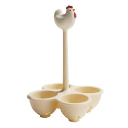 Alessi - Alessi Coccodandy Egg Cooking Basket - This hen is happy to be in hot water and keep your eggs contained while they cook. This cooking basket not only works like a charm while your eggs boil, its cheery chicken-top looks dandy sitting on the shelf, too.