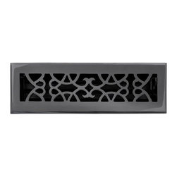 """Brass Elegans 120A DBZ Brass Decorative Floor Register Vent Cover - Victorian Sc - This dark bronze finish solid brass floor register heat vent cover with a victorian scroll design fits 2 1/4"""" x 10"""" x 2"""" duct openings and adds the perfect accent to your home decor."""
