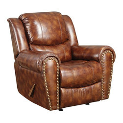AC Pacific - Sheldon Rocker Reclining Chair - Upholstered in 100% Polyester, Brown Color.. Brass Nail Head Trim. Seating Comfort: Medium. Seat Cushions attached. Back Cushions attached. Seating has heavy duty no sag springs with high density foam and Dacron fiber for added comfort. Our reinforced frames are built with selected hardwoods, glued and corner blocked for extra durability. All of our reclining mechanisims are built on a heavy duty steel rail system to give you years of trouble free use. . Assembly Required. 41 in. L x 38 in. D x 41 in. H (99 lbs.)This comfortable chair will turn your living room into a luxurious place to kick back and watch a movie. This Chair is composed with bonded leather and allows you to relax, utilizing the rocker and recliner.