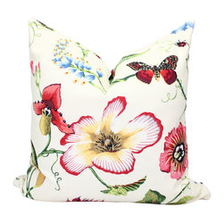 PillowFever - Cotton Floral Pillow Cover, White Pillow Cover. - This beautiful pillow cover has floral print on off white background. Main colors are: off white,red, yellow, blue,green.