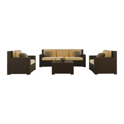 Forever Patio - Hampton 4 Piece Outdoor Wicker Sofa Set, Chocolate Wicker and Wheat Cushions - The incredibly stylish Forever Patio Hampton 4 Piece Wicker Outdoor Sofa Set with Gold Sunbrella cushions (SKU FP-HAM-4SS-CH-WM) will turn your patio into your new favorite spot for gathering with family and friends. The set seats 5 adults comfortably, and includes a sofa, 2 club chairs and a coffee table. This set features Chocolate outdoor wicker, which is made from High-Density Polyethylene (HDPE) for outdoor use. Each strand of this resin wicker is infused with the rich color and UV-inhibitors that prevent cracking, chipping and fading ordinarily caused by sunlight, surpassing the quality of natural rattan. Each piece features thick-gauged, powder-coated aluminum frames that make this outdoor sofa set extremely durable and resistant to corrosion. Also included with the set are fade- and mildew-resistant Sunbrella cushions. Start enjoying more time out on your patio with this generously sized and incredibly comfortable modern patio sofa set.
