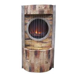 Alpine Fountains - Fire Fountain w LED Lights and Round Fire Box - Made of Polyresin, Stone Powder, and Fiberglass. 1 Year Limited Warranty. Assembly Required. Overall Dimensions: 16 in. L x 12 in. W x 30 in. H (22 lbs)These fiberglass fountains have the look of natural, aged wood.  Multiples streams of water flow in front of the fireplace creates a relaxing and meditative atmosphere. They can be placed indoors or out.