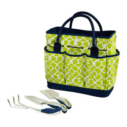 Picnic at Ascot - Gardening Tote with Tools, Trellis Green - Casual Style defines this durable multi-pocket gardening tote. Set includes three top quality, heavy gauge stainless tools with comfort grip handles.  Roomy interior is great for transporting supplies & side pockets have room for a beverage and snack. Designed and Assembled in the USA. Lifetime Warranty.