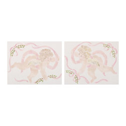 Cotton Tale Designs - Lollipops & Roses Wall Art - A quality baby bedding set is essential in making your nursery warm and inviting. All N. Selby patterns are made using the finest quality materials and are uniquely designed to create an elegant and sophisticated nursery. This hand painted wall art features two charming cherubs. Painted on natural twill and mounted on lightweight foam core it hangs easily. 16 in. H x 20 in. W, these two pieces will add the final touch to you nursery. Dust only.