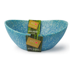 Architec™ Housewares - EcoSmart™ by Architec™ Polypaper™ Serving Bowl, Paper Blue - Ecosmart by Architec™ Polypaper Serving Bowl. Made by a zero-waste factory in the USA. Translucent recycled plastic with suspended pieces of paper. Made in USA!
