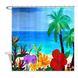 usa - Tropical Beach Shower Curtain - Beautiful shower curtains created from my original art work. Each curtain is made of a thick water resistant polyester fabric. The permanently applied art work appears on the front side with the inside being white. 12 button holes for easy hanging, machine washable and most importantly made in the USA. Shower rod and rings not included. Size is a standard 70''x70''
