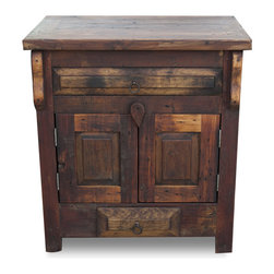 FoxDen Decor - Reclaimed Wood Vanity - Single Sink, 48x20x32 - A rustic barnwood vanity made for a small bathroom or powder bath. The barnwood has been sanded to a smooth, buttery finish but still has original marks of wear and tear. The piece is then finished by using a hand rubbed paste wax that helps bring out the tones in the barnwood and gives it a protective finish. We craft each item made to order.