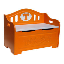 Fan Creations - University of Tennessee NCAA Logo Storage Bench - This storage bench has carved details on the front, and carved logo mounted on the back. The product contains two safety-spring lifts on each side to prevent the lid from slamming shut on little fingers. It's perfect for your Man Cave, Game Room, Office, or anywhere else you want to show love for your favorite team.