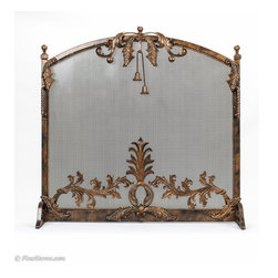 Custom Iron Tassel Fireplace Screen - Add a unique look to your fireplace with this handcrafted, solid antique gold iron fireplace screen.