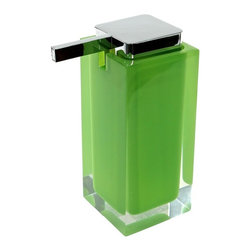Gedy - Square Soap Dispenser, Green - Add some color in your bathroom with this soap dispenser - from the rainbow collection. This contemporary soap dispenser available in 9 colors - blue, orange, white, red, black, green, silver, lilac, and pink. Made of thermoplastic resins.