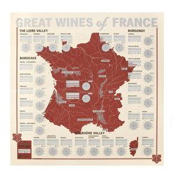 Modern Recycled Great Wines of France Tasting Map - Whether you're sipping your vino at a quaint trattoria downtown or on your couch with a pint of mocha chip, remember the robust flavors of France with this interactive map. A flavor wheel allows you to track distinctive notes as you taste your way through every major wine-producing region in France--from Champagne to Bordeaux. Write down the maker, vintage, and other details so you can celebrate some of your favorites, then raise a toast to your well-traveled taste.